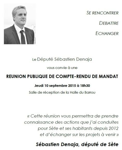 Invitation Réunion publique - Sète - jeudi 10 septembre