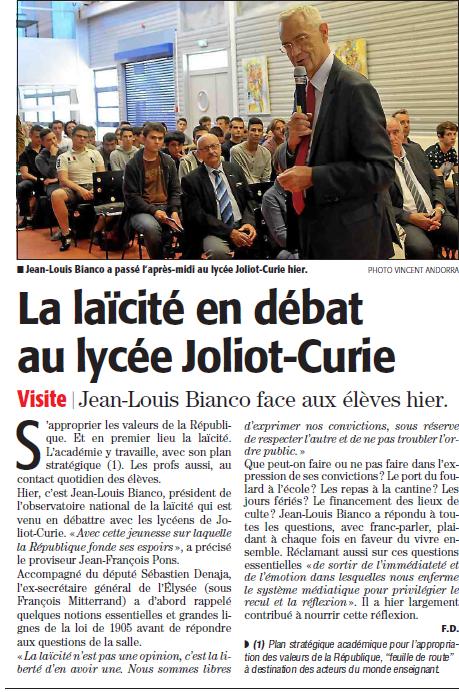 jean louis Bianco laïcité débat joliot curie