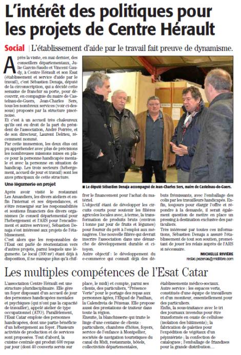 ML Béziers 28.01.2016 Visite SD ESAT Pézenas