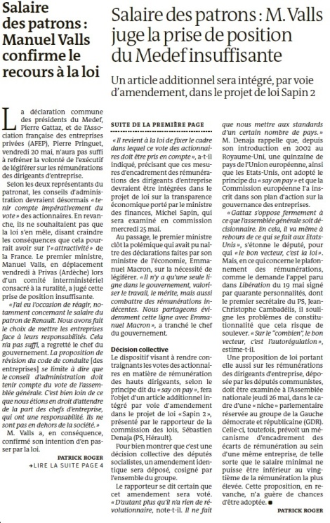 Salaires des patrons, Manuel Valls confirme le recours à la loi - Le Monde 21 mai