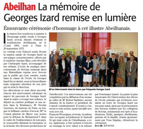 Abeilhan - La mémoire de Georges Izard remise en lumière