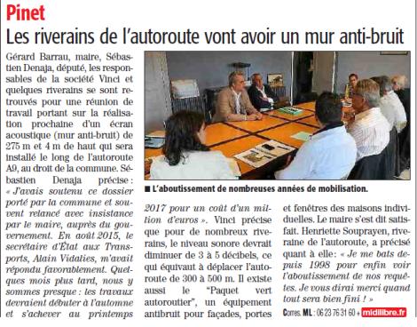 Pinet - les riverains de l'autoroute vont avoir leur mur antibruit - 9 juin 2016 Midi Libre