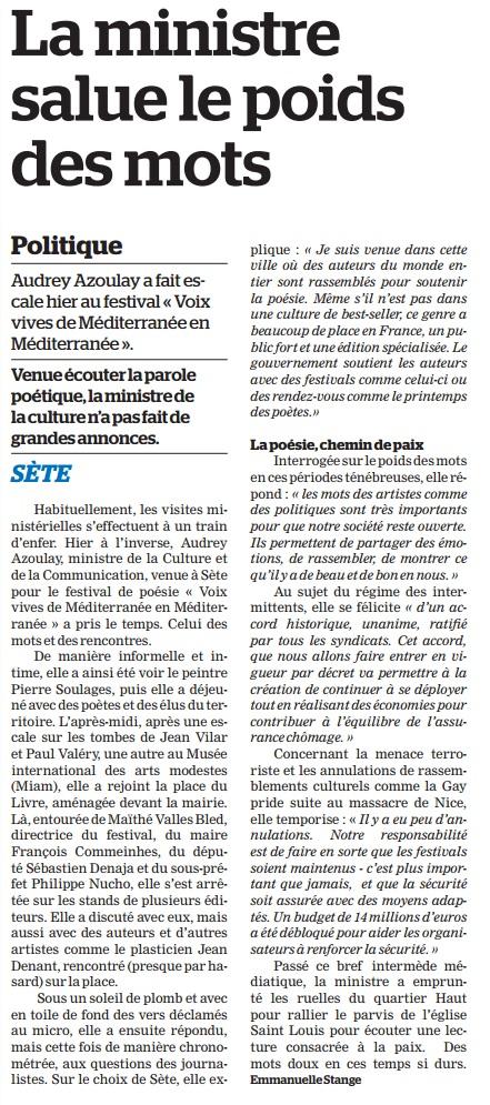 La Marseillaise - Sète, la ministre salue le poids des mots