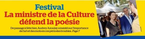 La Marseillaise - Une, la ministre défend la poésie